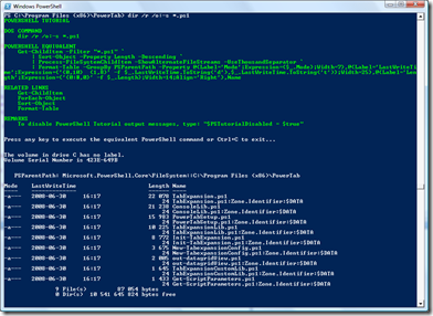 dir with tutorial in PowerShell