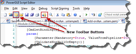 Module Management Add-on Toolbar Buttons