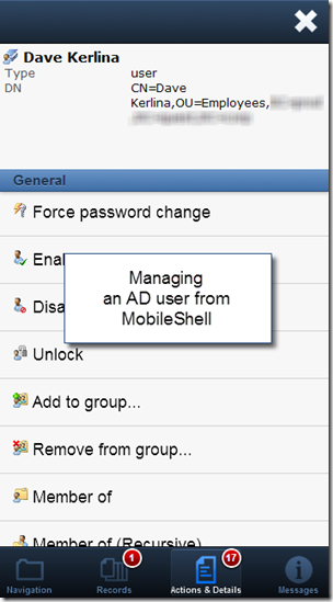 PowerGUI MobileShell - Managing an AD user object