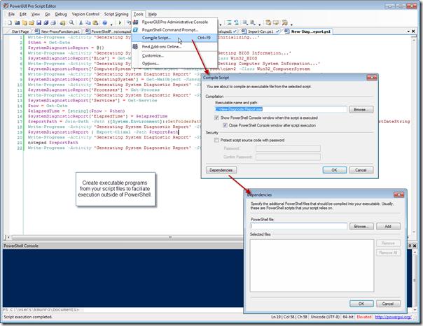 PowerGUI Pro Script Editor - Create Executable From Script