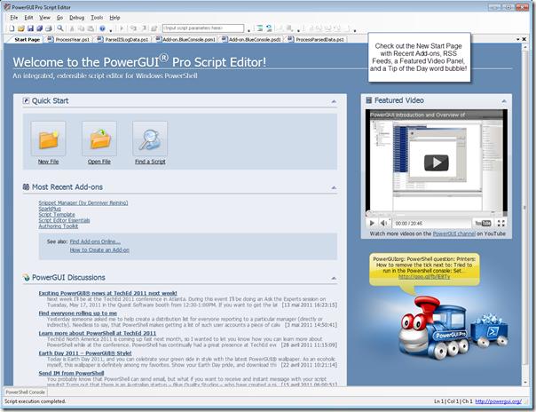PowerGUI Pro Script Editor Start Page