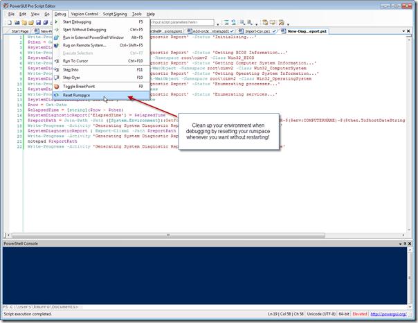 PowerGUI Pro Script Editor - Reset Runspace on Demand