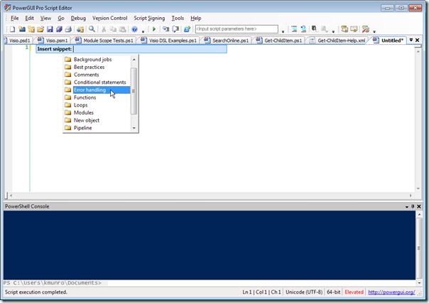 PowerGUI Pro Script Editor - Snippets Hierarchy